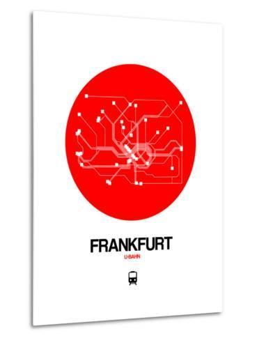 Frankfurt Red Subway Map-NaxArt-Metal Print