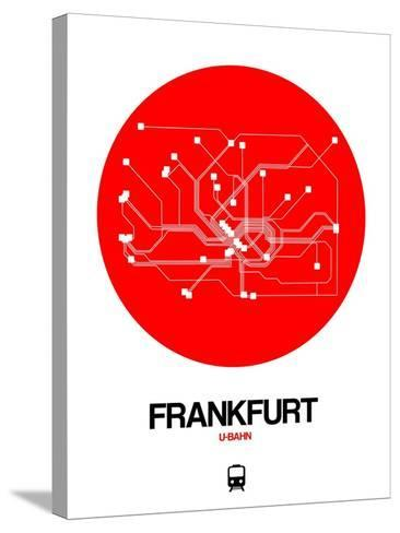 Frankfurt Red Subway Map-NaxArt-Stretched Canvas Print