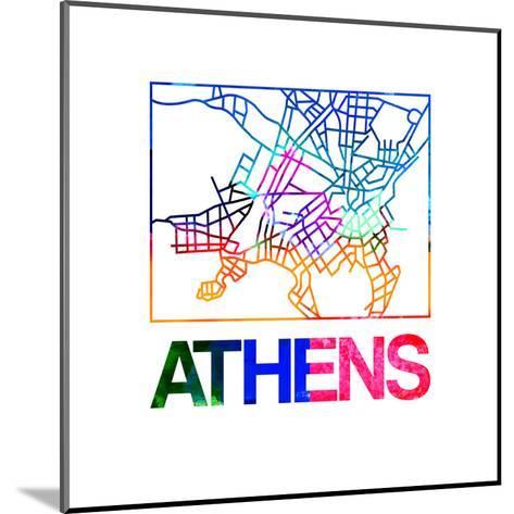 Athens Watercolor Street Map-NaxArt-Mounted Art Print