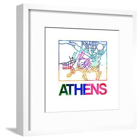 Athens Watercolor Street Map-NaxArt-Framed Art Print