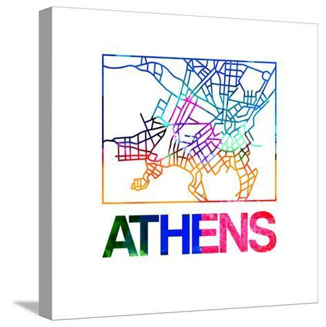 Athens Watercolor Street Map-NaxArt-Stretched Canvas Print