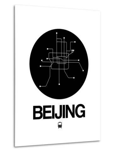 Beijing Black Subway Map-NaxArt-Metal Print