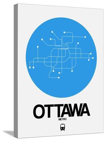 Ottawa Blue Subway Map-NaxArt-Stretched Canvas Print