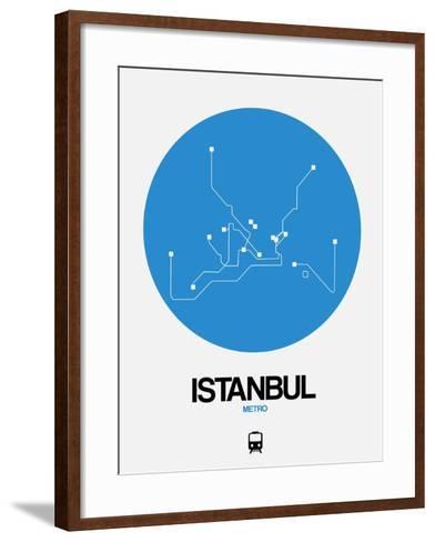 Istanbul Blue Subway Map-NaxArt-Framed Art Print