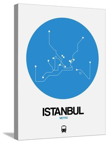 Istanbul Blue Subway Map-NaxArt-Stretched Canvas Print