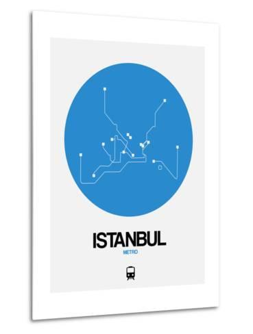 Istanbul Blue Subway Map-NaxArt-Metal Print