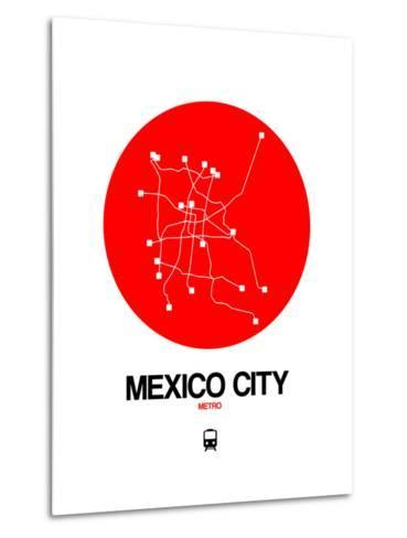 Mexico City Red Subway Map-NaxArt-Metal Print