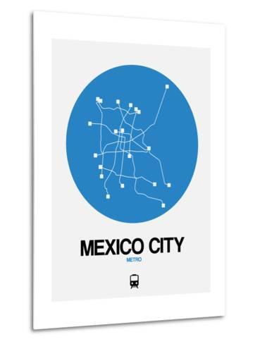 Mexico City Blue Subway Map-NaxArt-Metal Print