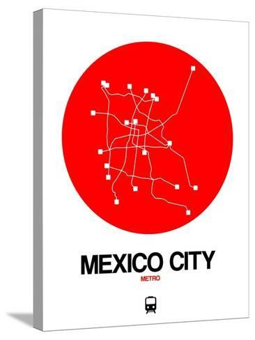 Mexico City Red Subway Map-NaxArt-Stretched Canvas Print