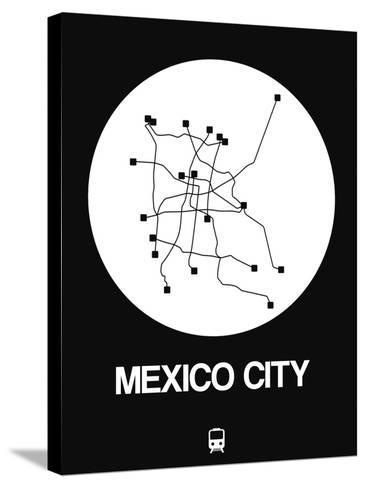 Mexico City White Subway Map-NaxArt-Stretched Canvas Print