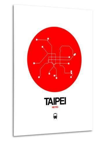Taipei Red Subway Map-NaxArt-Metal Print