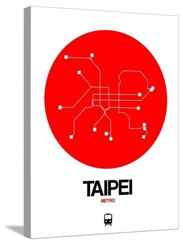 Taipei Red Subway Map-NaxArt-Stretched Canvas Print