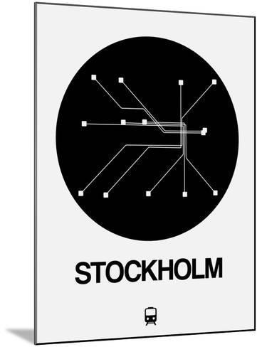 Stockholm Black Subway Map-NaxArt-Mounted Art Print