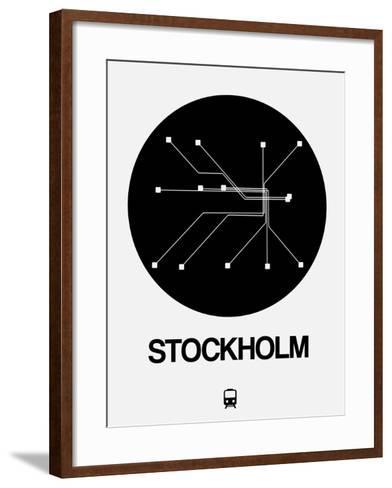 Stockholm Black Subway Map-NaxArt-Framed Art Print
