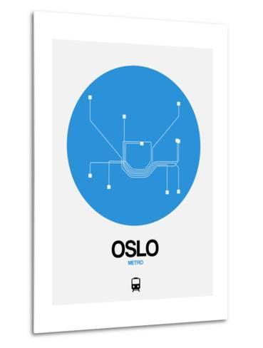 Oslo Blue Subway Map-NaxArt-Metal Print