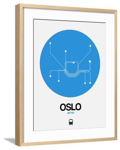 Oslo Blue Subway Map-NaxArt-Framed Art Print