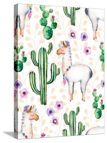 Seamless Texture with High Quality Hand Painted Watercolor Elements for Your Design with Cactus Pla-katerinas39-Stretched Canvas Print