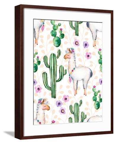 Seamless Texture with High Quality Hand Painted Watercolor Elements for Your Design with Cactus Pla-katerinas39-Framed Art Print