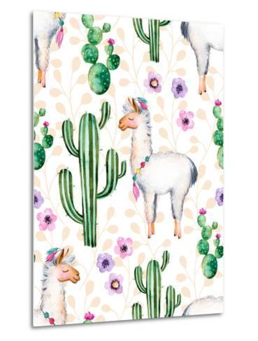 Seamless Texture with High Quality Hand Painted Watercolor Elements for Your Design with Cactus Pla-katerinas39-Metal Print