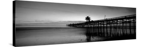 Silhouette of a Pier, San Clemente Pier, Los Angeles County, California, USA--Stretched Canvas Print