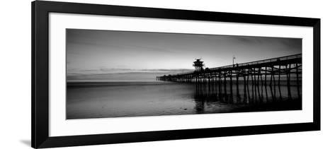 Silhouette of a Pier, San Clemente Pier, Los Angeles County, California, USA--Framed Art Print