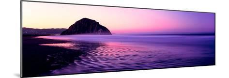 View of Beach at Sunrise, Morro Rock, Morro Bay, San Luis Obispo County, California, USA--Mounted Photographic Print