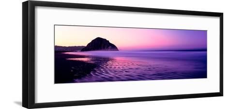 View of Beach at Sunrise, Morro Rock, Morro Bay, San Luis Obispo County, California, USA--Framed Art Print