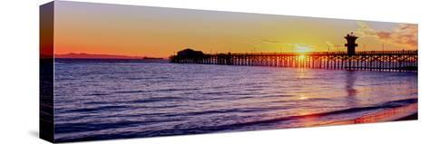 Seal Beach Pier at Sunset, Seal Beach, Orange County, California, USA--Stretched Canvas Print