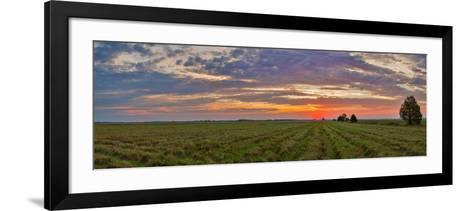Clouds over Landscape at Sunrise, Prairie Ridge State Natural Area, Marion County, Illinois, USA--Framed Art Print