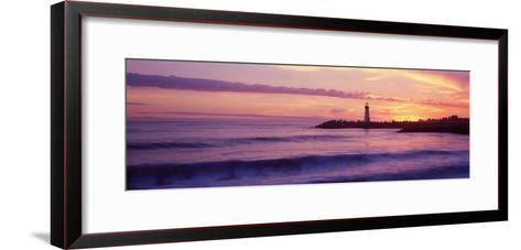 Lighthouse on the Coast at Dusk, Walton Lighthouse, Santa Cruz, California, USA--Framed Art Print