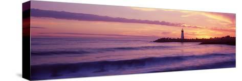 Lighthouse on the Coast at Dusk, Walton Lighthouse, Santa Cruz, California, USA--Stretched Canvas Print