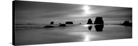 Silhouette of Sea Stacks at Sunset, Second Beach, Olympic National Park, Washington State, USA--Stretched Canvas Print