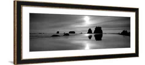 Silhouette of Sea Stacks at Sunset, Second Beach, Olympic National Park, Washington State, USA--Framed Art Print