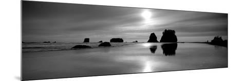Silhouette of Sea Stacks at Sunset, Second Beach, Olympic National Park, Washington State, USA--Mounted Photographic Print