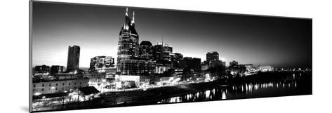Skylines at Night Along Cumberland River, Nashville, Tennessee, USA--Mounted Photographic Print