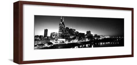 Skylines at Night Along Cumberland River, Nashville, Tennessee, USA--Framed Art Print