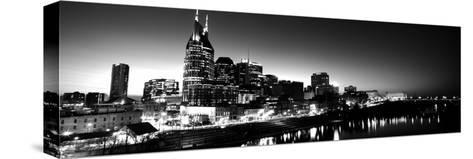 Skylines at Night Along Cumberland River, Nashville, Tennessee, USA--Stretched Canvas Print