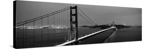 Suspension Bridge Lit Up at Dusk, Golden Gate Bridge, San Francisco, California, USA--Stretched Canvas Print