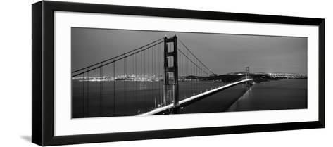 Suspension Bridge Lit Up at Dusk, Golden Gate Bridge, San Francisco, California, USA--Framed Art Print