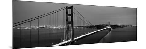 Suspension Bridge Lit Up at Dusk, Golden Gate Bridge, San Francisco, California, USA--Mounted Photographic Print
