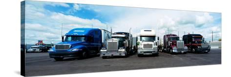 Eighteen Wheeler Vehicles on the Road--Stretched Canvas Print