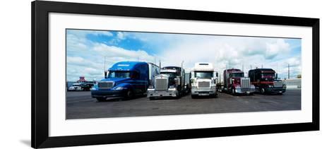 Eighteen Wheeler Vehicles on the Road--Framed Art Print