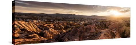 View of Rock Formations from Aktepe Hill at Sunset over Red Valley, Goreme National Park--Stretched Canvas Print