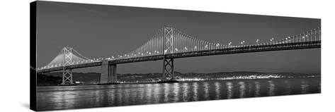 Suspension Bridge over Pacific Ocean Lit Up at Dusk, Bay Bridge, San Francisco Bay--Stretched Canvas Print