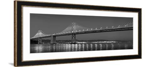 Suspension Bridge over Pacific Ocean Lit Up at Dusk, Bay Bridge, San Francisco Bay--Framed Art Print