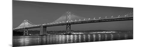 Suspension Bridge over Pacific Ocean Lit Up at Dusk, Bay Bridge, San Francisco Bay--Mounted Photographic Print