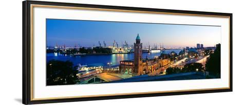 Elevated View of the St. Pauli Piers and Port of Hamburg, Elbe River, Hamburg, Germany--Framed Art Print