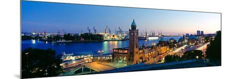 Elevated View of the St. Pauli Piers and Port of Hamburg, Elbe River, Hamburg, Germany--Mounted Photographic Print