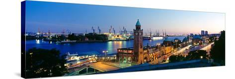 Elevated View of the St. Pauli Piers and Port of Hamburg, Elbe River, Hamburg, Germany--Stretched Canvas Print