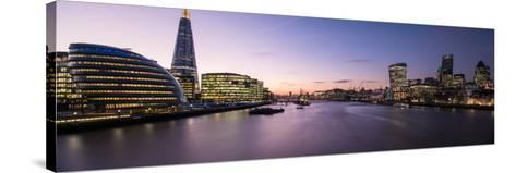 View of the Shard and City Hall from Tower Bridge, Southwark, London, England--Stretched Canvas Print